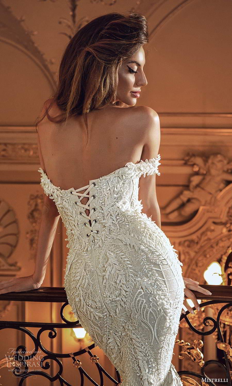 mistrelli 2021 innamorata bridal off shoulder straps semi sweetheart neckline fully embellished sheath wedding dress chapel train (2) zbv