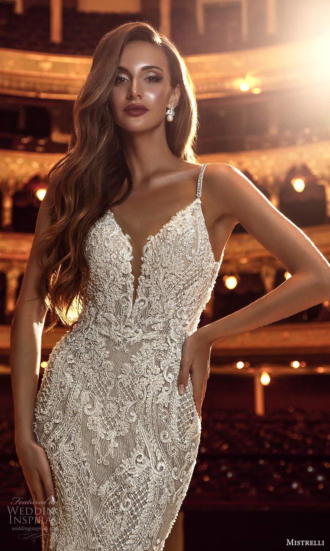 mistrelli 2021 innamorata bridal sleeveless beaded straps plunging v neckline fully embellished sheath wedding dress chapel train (11) mv