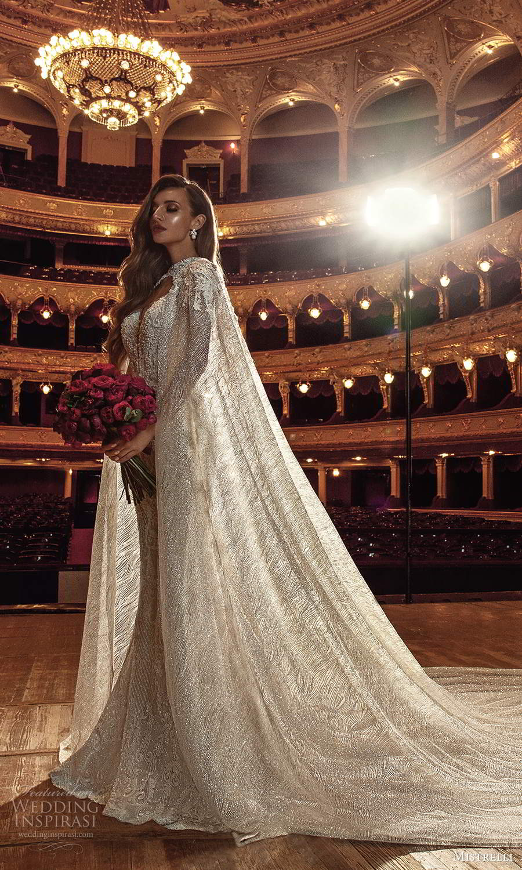 mistrelli 2021 innamorata bridal sleeveless beaded straps plunging v neckline fully embellished sheath wedding dress chapel train cape (11) sv
