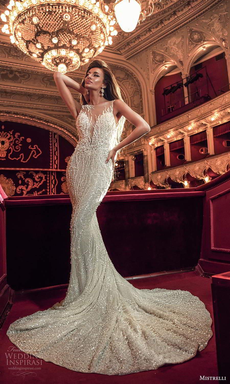 mistrelli 2021 innamorata bridal sleeveless illusion straps plunging sweetheart fully embellished sheath wedding dress chapel train (5) mv