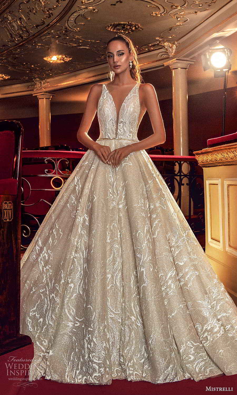 mistrelli 2021 innamorata bridal sleeveless straps plunging v neckline fully embellished a line ball gown wedding dress (18) mv