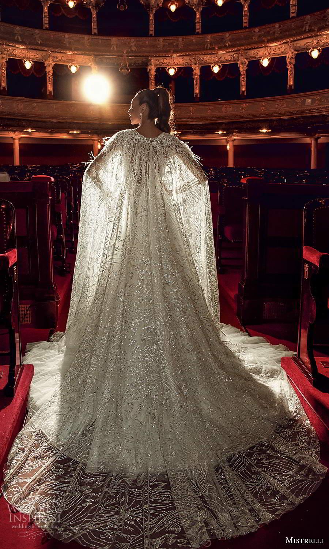 mistrelli 2021 innamorata bridal sleeveless straps plunging v neckline fully embellished a line ball gown wedding dress cape (8) bv