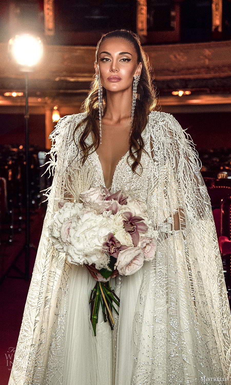 mistrelli 2021 innamorata bridal sleeveless straps plunging v neckline fully embellished a line ball gown wedding dress cape (8) mv
