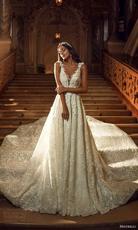 mistrelli 2021 innamorata bridal sleeveless straps plunging v neckline fully embellished a line ball gown wedding dress cathedral train (7) mv