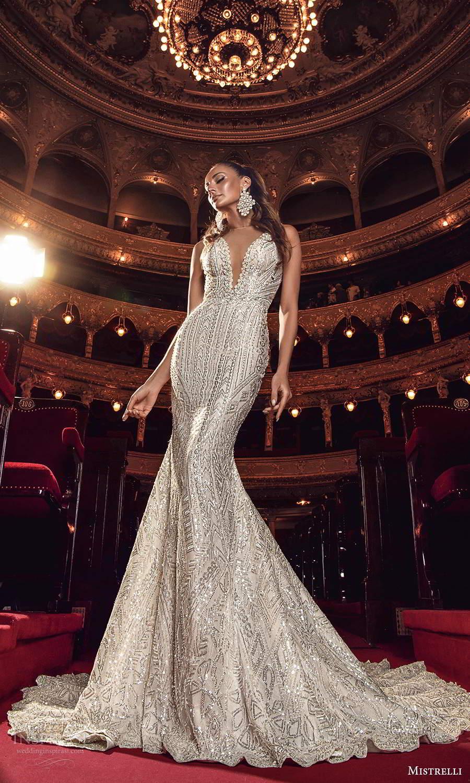 mistrelli 2021 innamorata bridal sleeveless straps plunging v neckline fully embellished fit flare mermaid wedding dress chapel train (3) mv