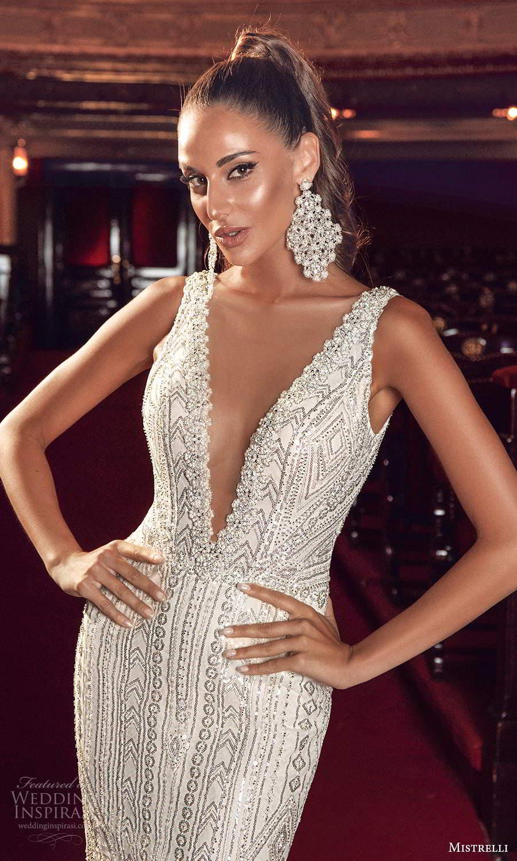 mistrelli 2021 innamorata bridal sleeveless straps plunging v neckline fully embellished fit flare mermaid wedding dress chapel train (3) zv