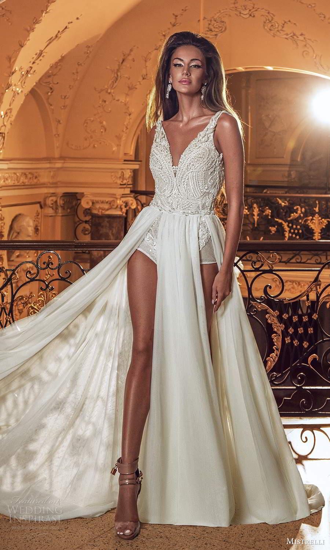 mistrelli 2021 innamorata bridal sleeveless straps vneckline embellished bodice bodysuit a line wedding dress sweep train (15) fv