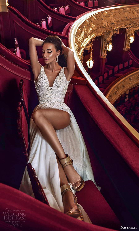 mistrelli 2021 innamorata bridal sleeveless straps vneckline embellished bodice bodysuit a line wedding dress sweep train (15) mv