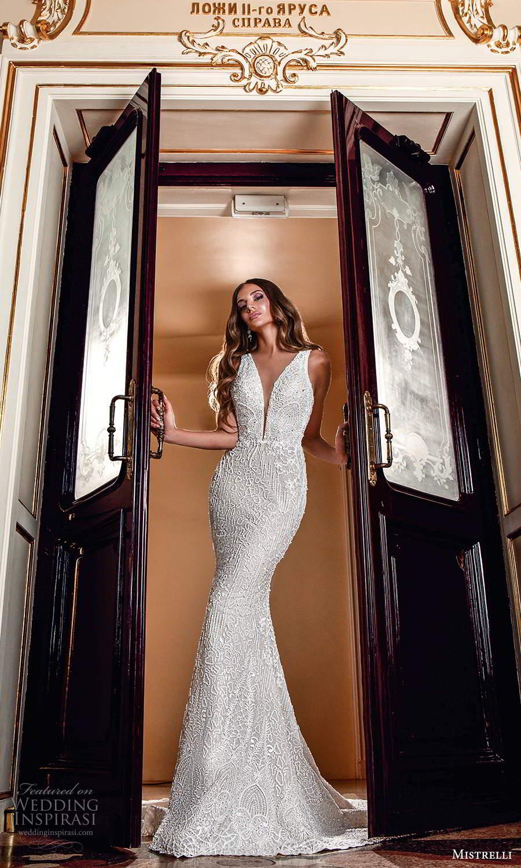 mistrelli 2021 innamorata bridal sleeveless thick straps plunging v neckline fully embellished sheath wedding dress chapel train (4) mv