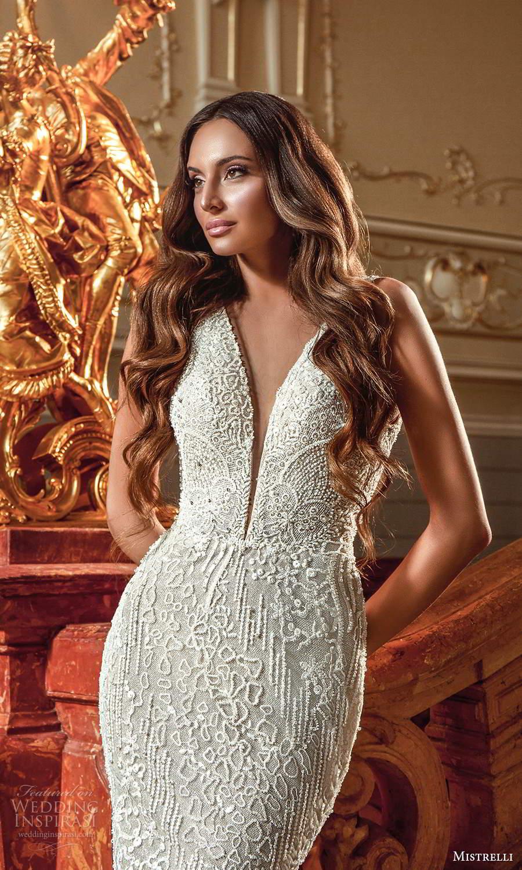 mistrelli 2021 innamorata bridal sleeveless thick straps plunging v neckline fully embellished sheath wedding dress chapel train (4) zv