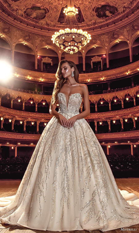 mistrelli 2021 innamorata bridal strapless plunging sweetheart neckline fully embellished a line ball gown wedding dress chapel train (13) mv