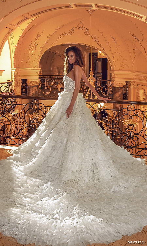 mistrelli 2021 innamorata bridal strapless sweetheart neckline embellished bodice ball gown wedding dress ruffle skirt chapel train (16) bv