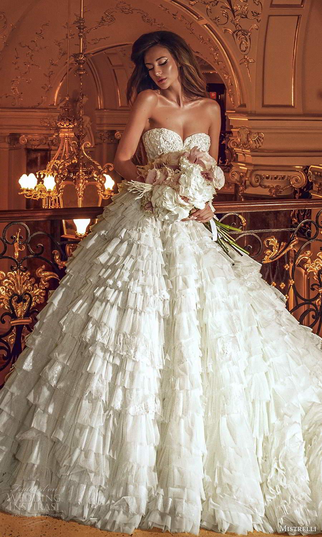 mistrelli 2021 innamorata bridal strapless sweetheart neckline embellished bodice ball gown wedding dress ruffle skirt chapel train (16) mv