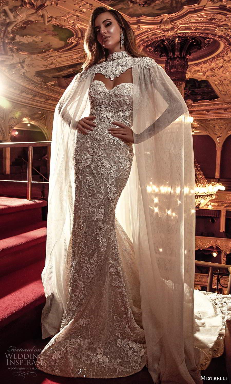 mistrelli 2021 innamorata bridal strapless sweetheart neckline fully embellished sheath wedding dress chapel train high neck cape (6) mv