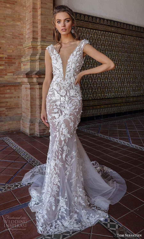 tom sebastien 2021 bridal cap sleeves plunging v neckline fully embellished fit flare mermaid wedding dress chapel train blush (9) mv