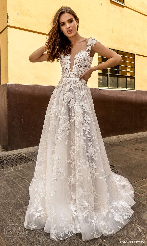 tom sebastien 2021 bridal cap sleeves plunging v neckline fully embellished lace a line ball gown wedding dress chapel train (19) mv