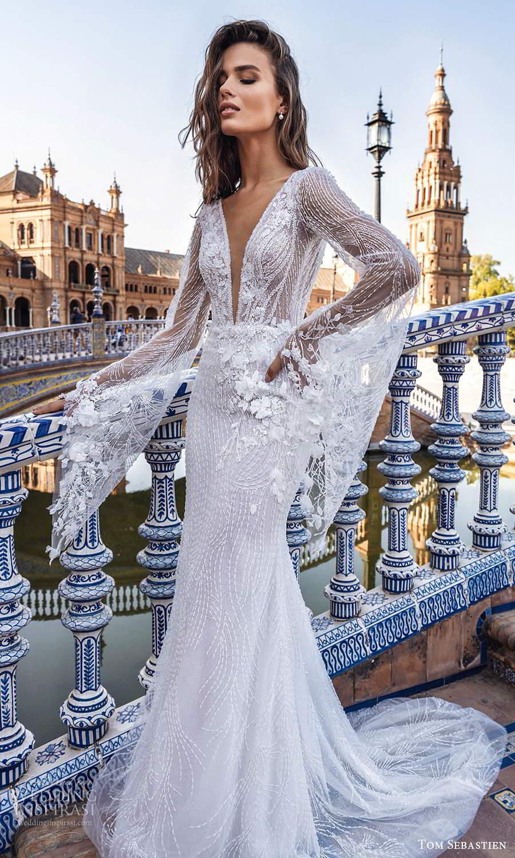 tom sebastien 2021 bridal long flare sheer sleeves plunging v neckline fully embellished sheath wedding dress chapel train (6) mv