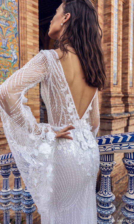 tom sebastien 2021 bridal long flare sheer sleeves plunging v neckline fully embellished sheath wedding dress chapel train (6) zbv