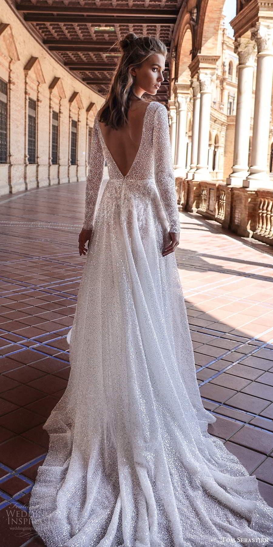 tom sebastien 2021 bridal long sleeve plunging v neckline fully embellished glitzy a line wedding dress chapel train (12) bv