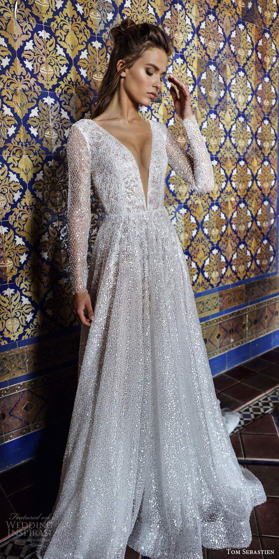tom sebastien 2021 bridal long sleeve plunging v neckline fully embellished glitzy a line wedding dress chapel train (12) mv