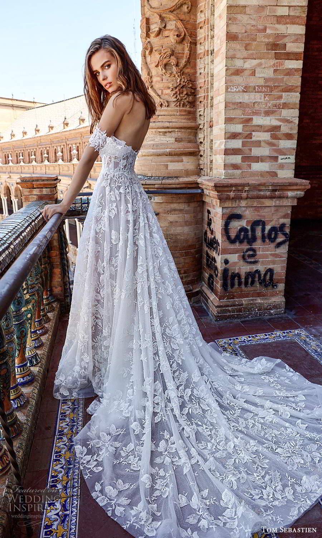 tom sebastien 2021 bridal off shoulder straps sweetheart neckline fully embellished a line ball gown wedding dress chapel train (3) bv