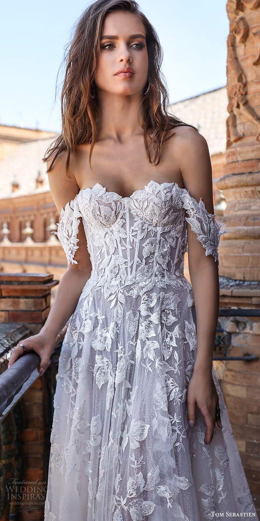 tom sebastien 2021 bridal off shoulder straps sweetheart neckline fully embellished a line ball gown wedding dress chapel train (3) mv