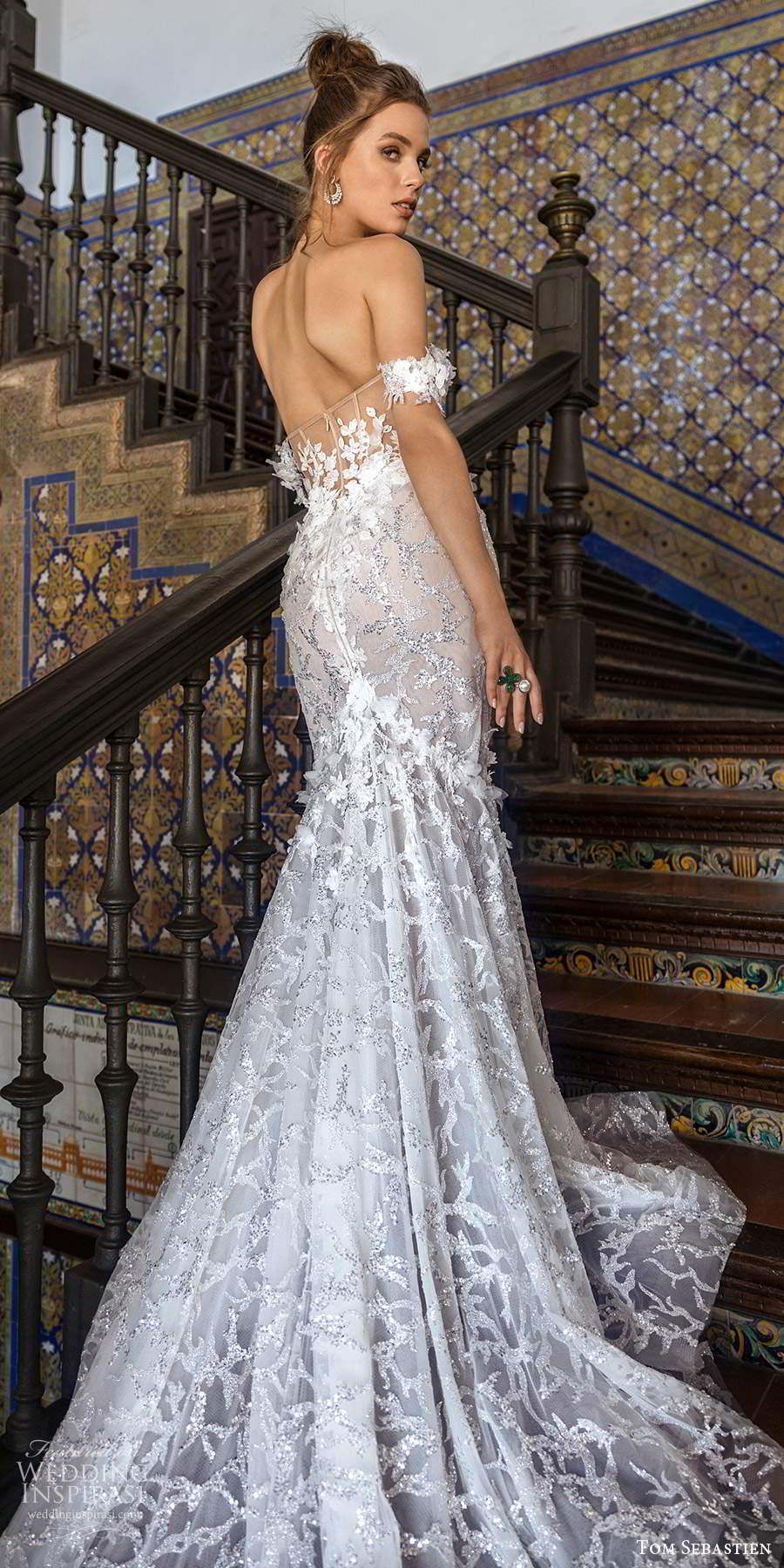 tom sebastien 2021 bridal off shoulder straps sweetheart neckline fully embellished fit flare mermaid wedding dress chapel train (4) bv