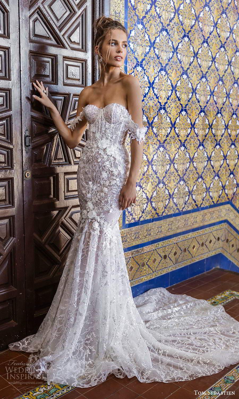 tom sebastien 2021 bridal off shoulder straps sweetheart neckline fully embellished fit flare mermaid wedding dress chapel train (4) mv