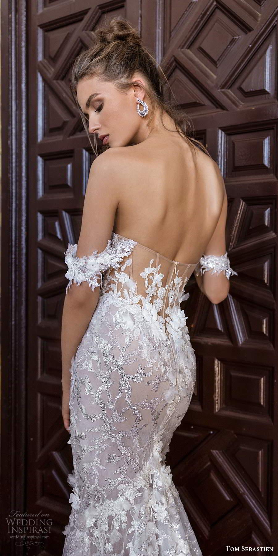 tom sebastien 2021 bridal off shoulder straps sweetheart neckline fully embellished fit flare mermaid wedding dress chapel train (4) zbv