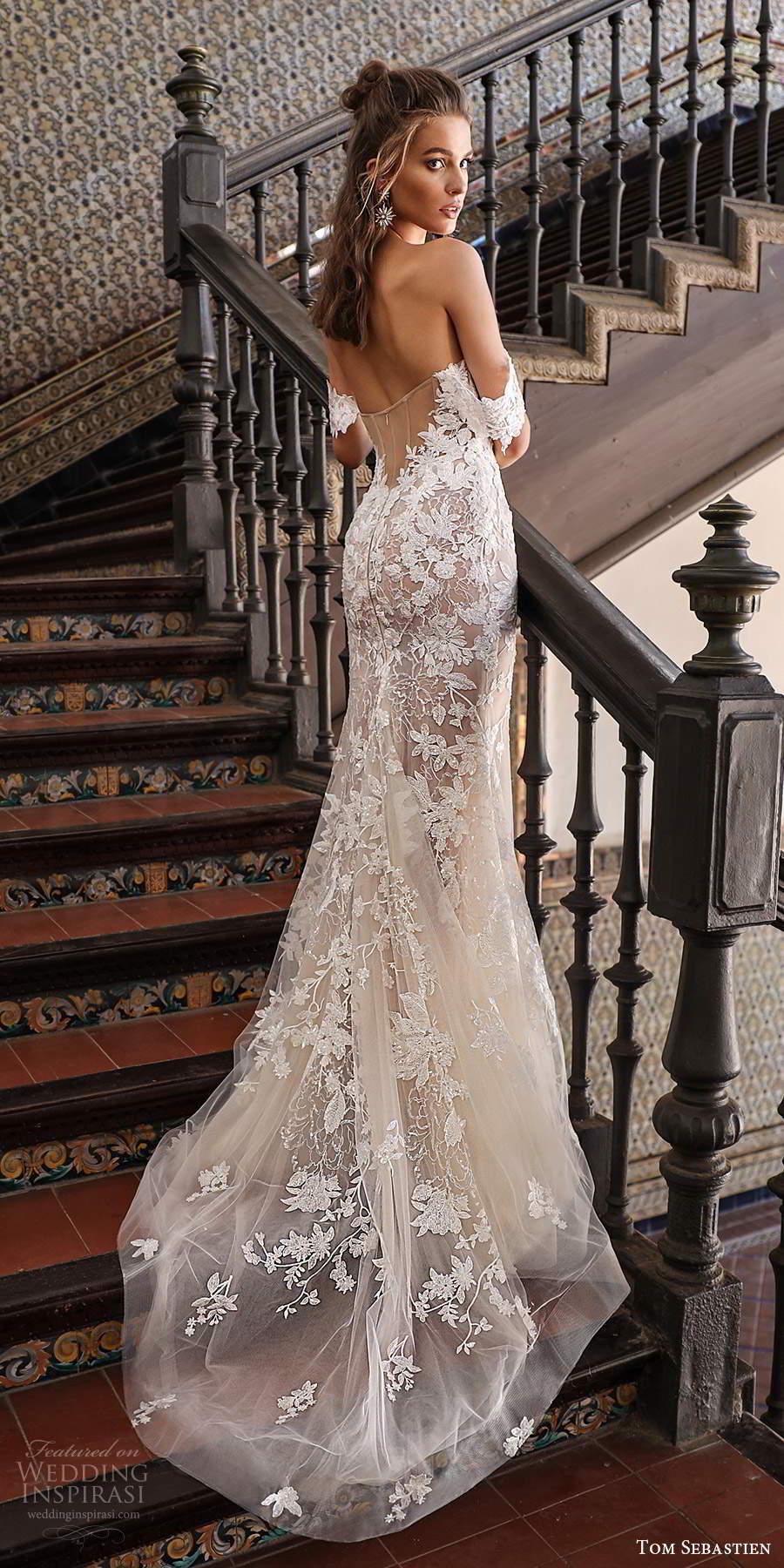 tom sebastien 2021 bridal off shoulder sweetheart neckline fully embellished fit flare sheath wedding dress chapel train (11) bv