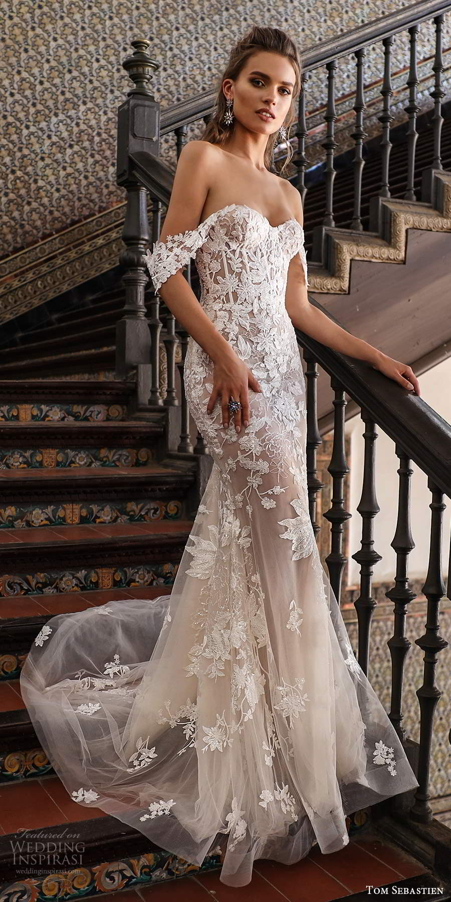 tom sebastien 2021 bridal off shoulder sweetheart neckline fully embellished fit flare sheath wedding dress chapel train (11) mv