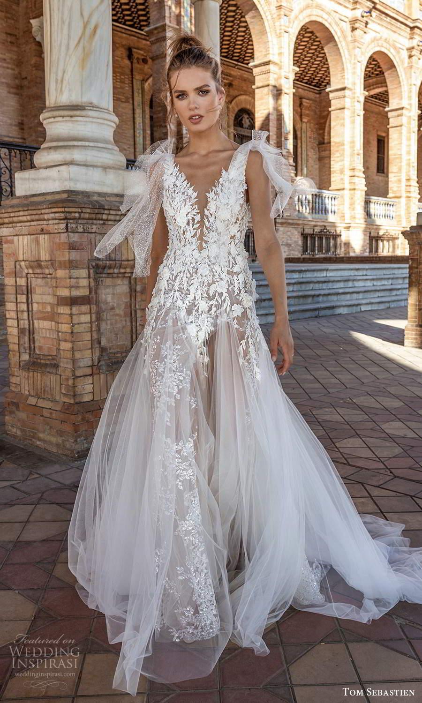 tom sebastien 2021 bridal sleeveless bow straps plunging v neckline heavily embellished bodice a line wedding dress blush chapel train (22) mv