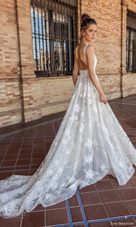 tom sebastien 2021 bridal sleeveless straps plunging v neckline fully embellished a line ball gown wedding dress chapel train low back (5) bv