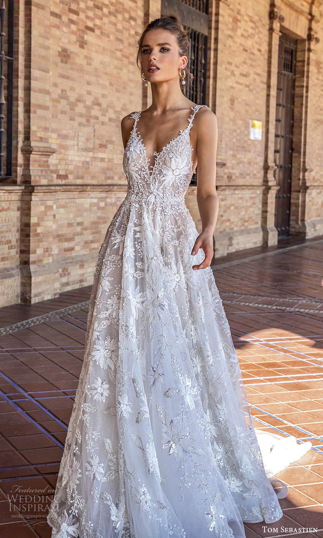 tom sebastien 2021 bridal sleeveless straps plunging v neckline fully embellished a line ball gown wedding dress chapel train low back (5) mv