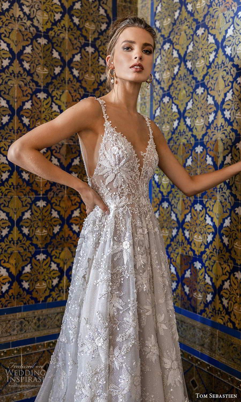 tom sebastien 2021 bridal sleeveless straps plunging v neckline fully embellished a line ball gown wedding dress chapel train low back (5) zv