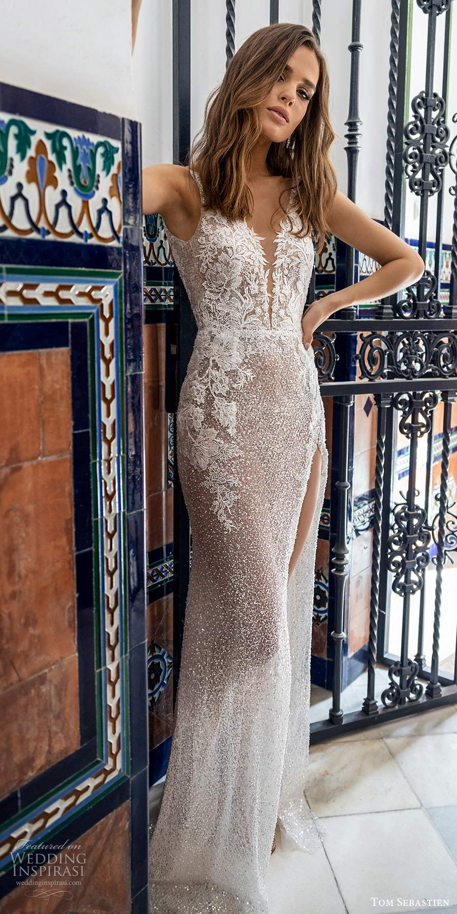 tom sebastien 2021 bridal sleeveless straps plunging v neckline fully embellished sheath wedding dress slit skirt sweep train (17) mv