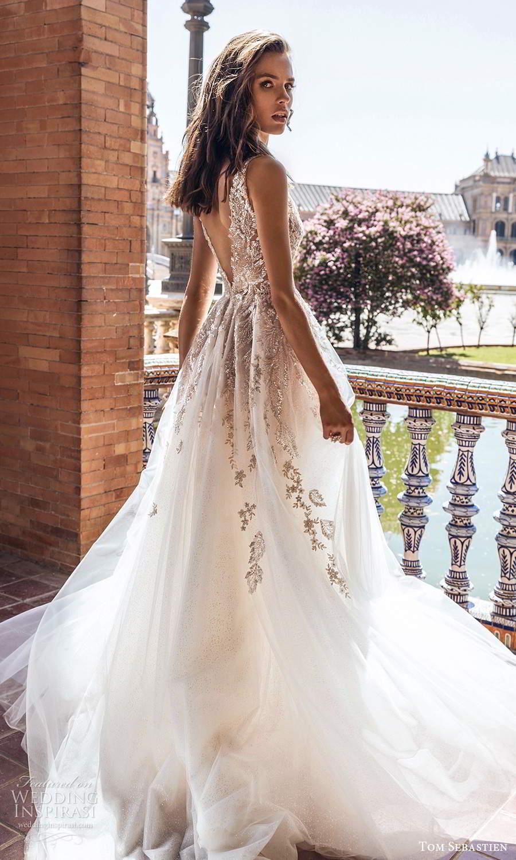 tom sebastien 2021 bridal sleeveless straps plunging v neckline heavily embellished a line ball gown wedding dress chapel train (7) bv