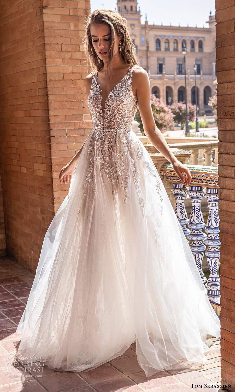tom sebastien 2021 bridal sleeveless straps plunging v neckline heavily embellished a line ball gown wedding dress chapel train (7) mv