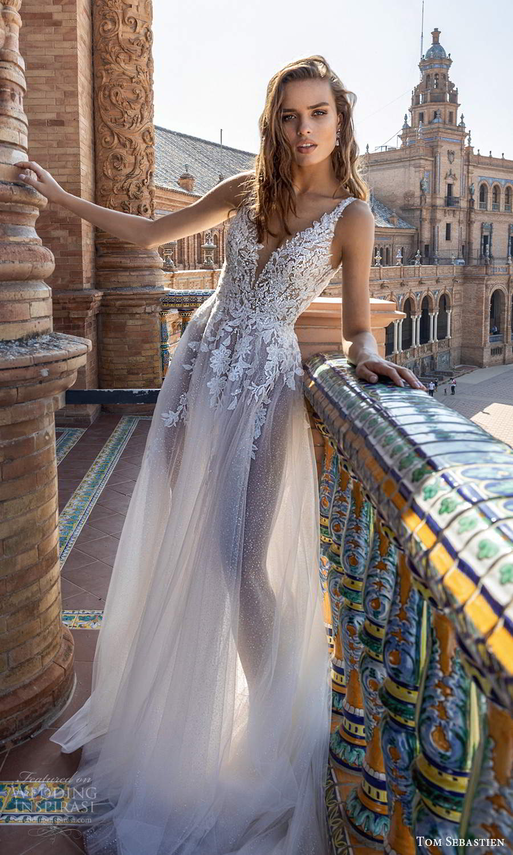 tom sebastien 2021 bridal sleeveless straps plunging v neckline heavily embellished a line ball gown wedding dress chapel train (8) bv