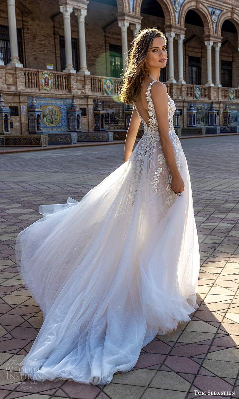tom sebastien 2021 bridal sleeveless straps plunging v neckline heavily embellished bodice a line ball gown wedding dress chapel train sheer skirt (21) bv