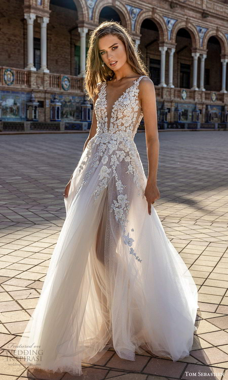 tom sebastien 2021 bridal sleeveless straps plunging v neckline heavily embellished bodice a line ball gown wedding dress chapel train sheer skirt (21) mv