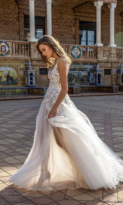 tom sebastien 2021 bridal sleeveless straps plunging v neckline heavily embellished bodice a line ball gown wedding dress chapel train sheer skirt (21) sv