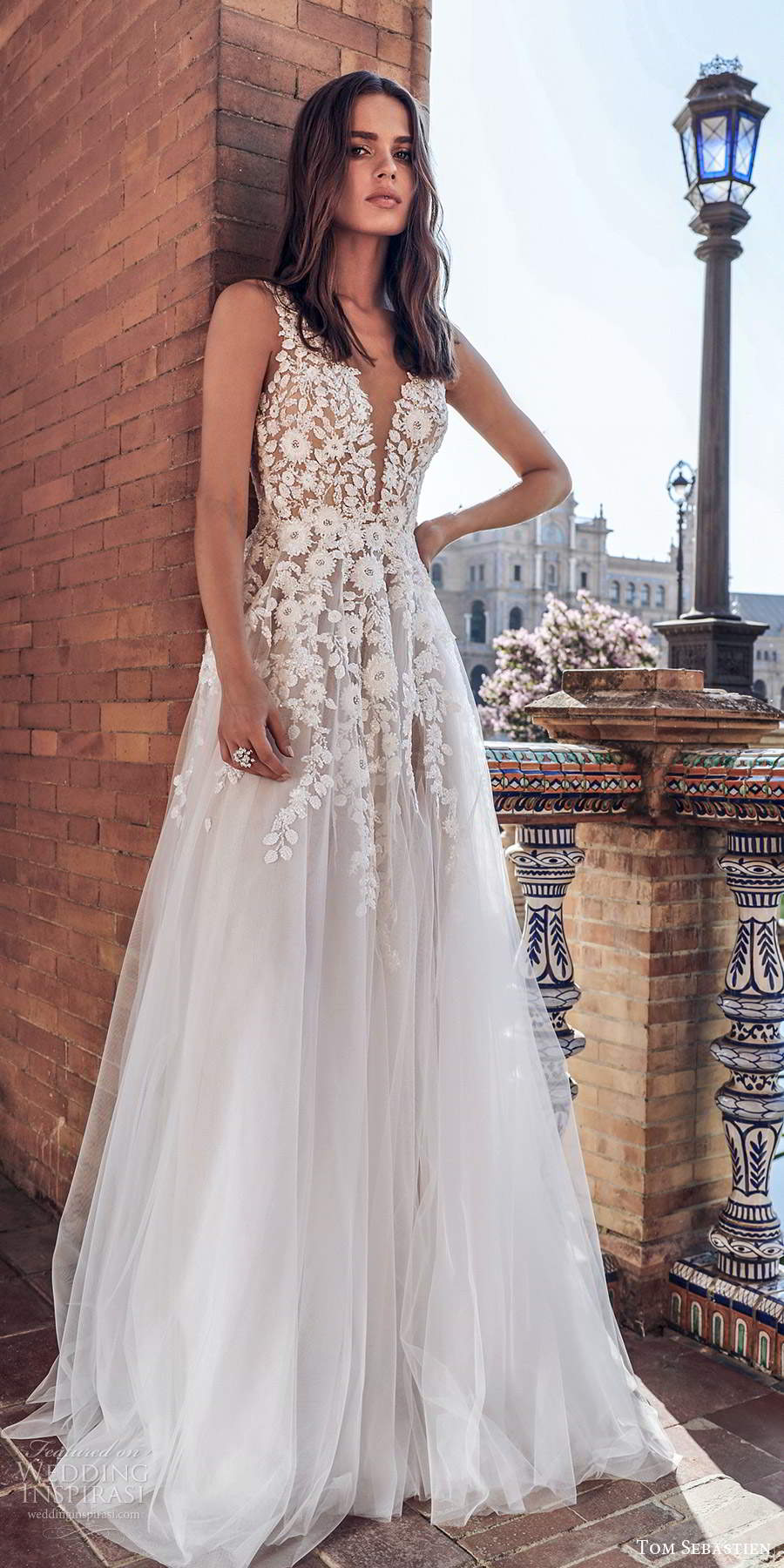 tom sebastien 2021 bridal sleeveless straps plunging v neckline heavily embellished bodice a line ball gown weddnig dress chapel train (15) mv