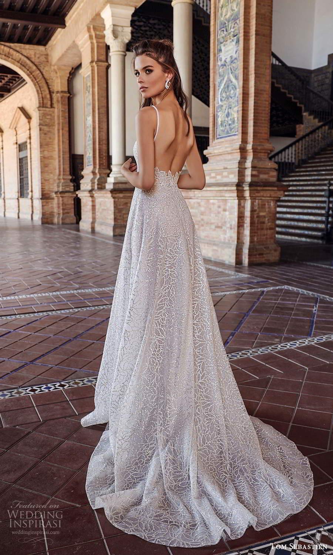tom sebastien 2021 bridal sleeveless straps sweetheart neckline fully embellished glitzy a line wedding dress chapel train (20) bv