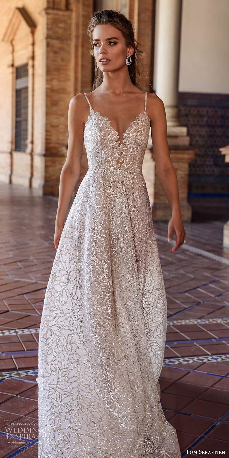tom sebastien 2021 bridal sleeveless straps sweetheart neckline fully embellished glitzy a line wedding dress chapel train (20) mv