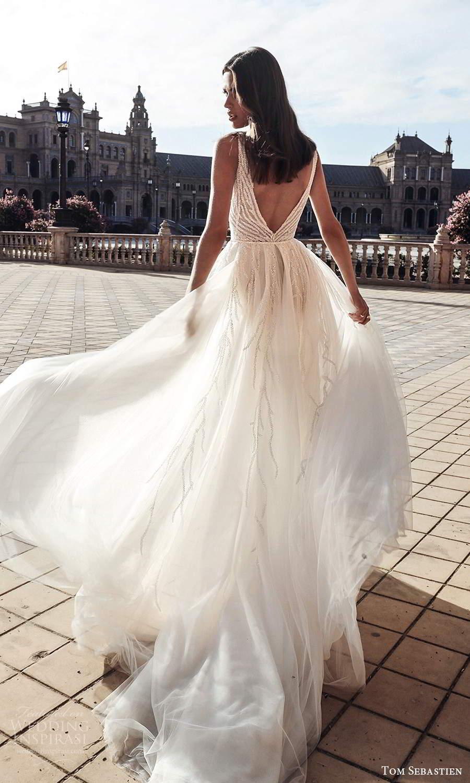 tom sebastien 2021 bridal sleeveless thick straps plunging v necklnie fully embellished sheath wedding dress a line overskirt chapel train (16) bv