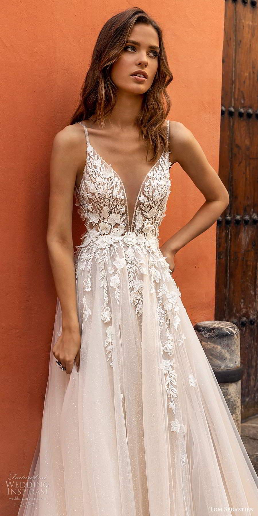 tom sebastien 2021 bridal sleeveless thin straps plunging v neckline embellished lace bodice a line ball gown wedding dress blush chapel train (18) mv