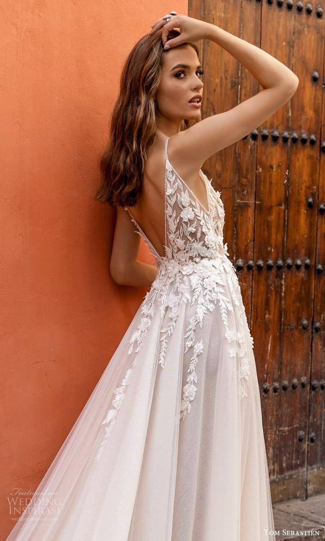 tom sebastien 2021 bridal sleeveless thin straps plunging v neckline embellished lace bodice a line ball gown wedding dress blush chapel train (18) zbv
