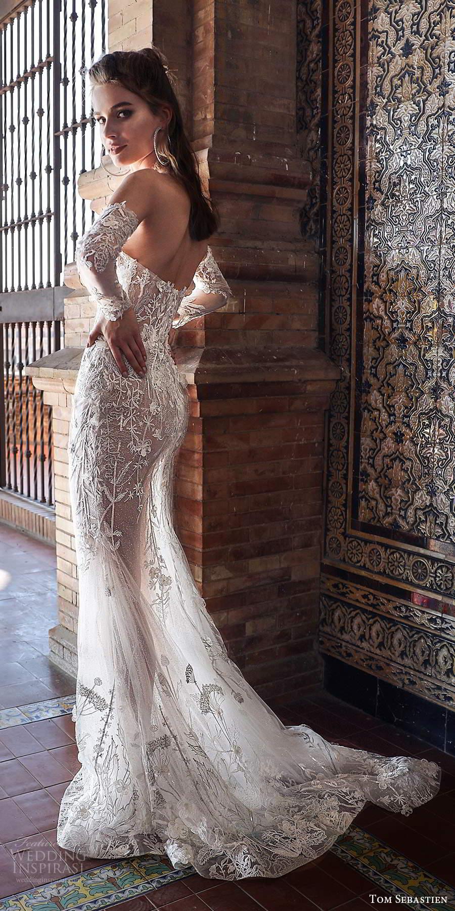 tom sebastien 2021 bridal strapless sweetheart neckline detached sleeves fully embellished lace sheath wedding dress sweep train (10) bv