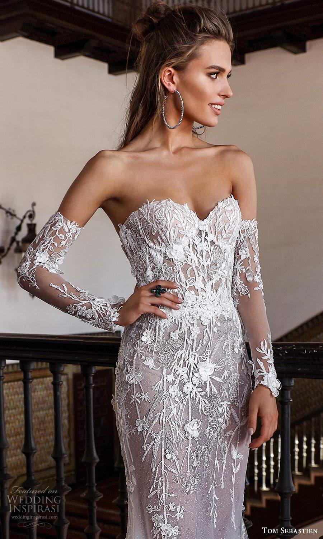 tom sebastien 2021 bridal strapless sweetheart neckline detached sleeves fully embellished lace sheath wedding dress sweep train (10) zv